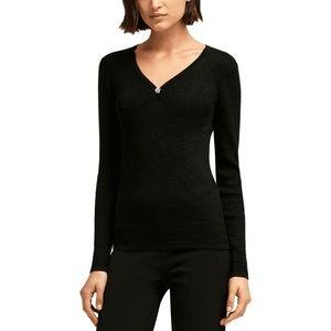 DKNY Top Blouse Black Long Sleeves Rhinestones XL